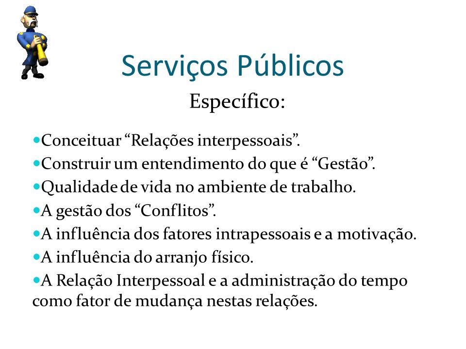 Serviços Públicos Específico: Conceituar Relações interpessoais .