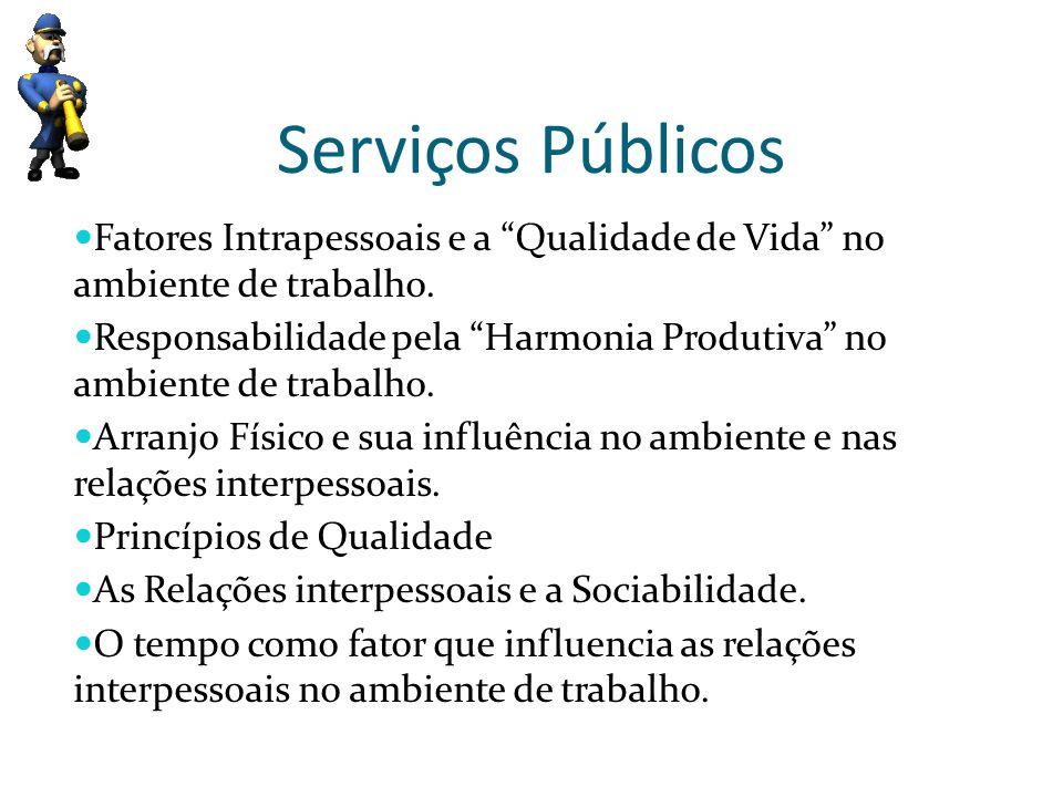 Serviços Públicos Fatores Intrapessoais e a Qualidade de Vida no ambiente de trabalho.