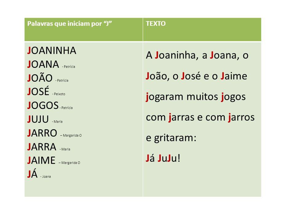 JOANINHA JOANA - Patrícia JOÃO - Patrícia JOSÉ - Peixoto