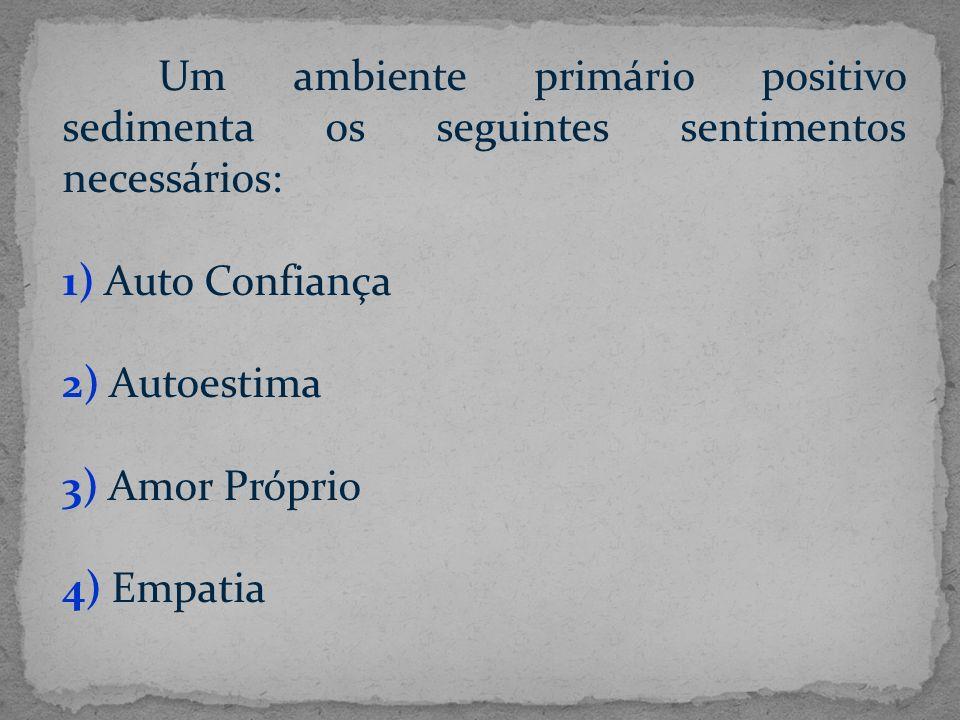 Um ambiente primário positivo sedimenta os seguintes sentimentos necessários: