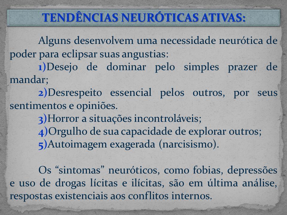 TENDÊNCIAS NEURÓTICAS ATIVAS: