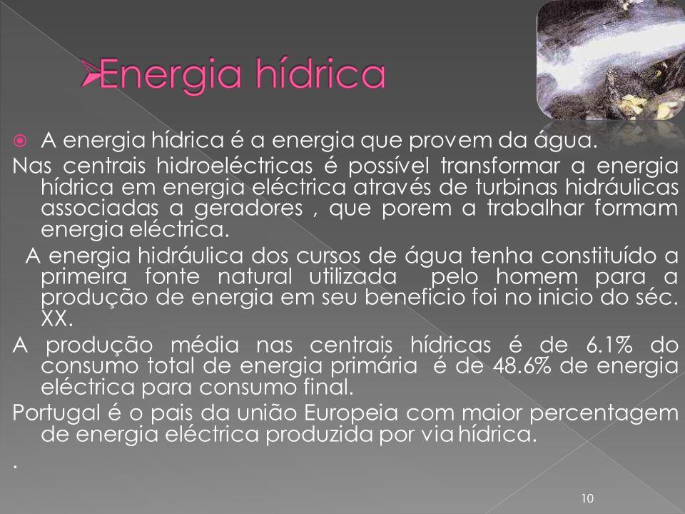 Energia hídrica A energia hídrica é a energia que provem da água.