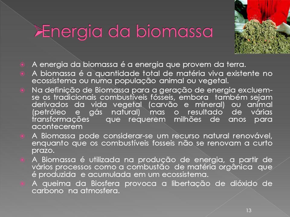 Energia da biomassa A energia da biomassa é a energia que provem da terra.