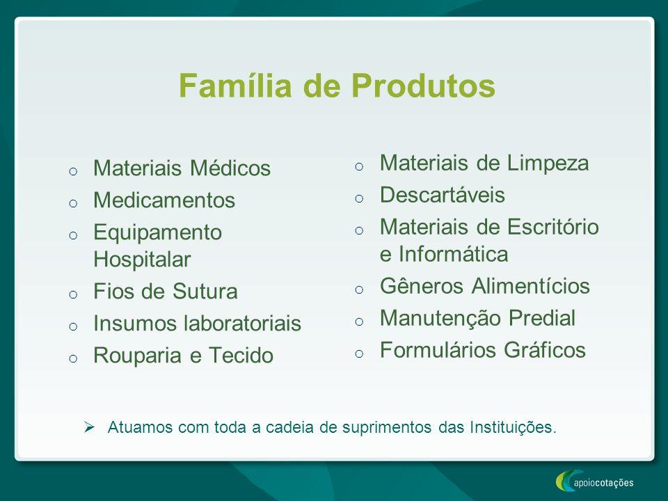 Família de Produtos Materiais de Limpeza Materiais Médicos