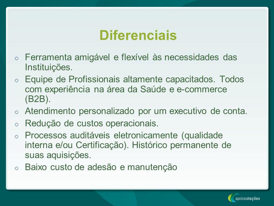Diferenciais Ferramenta amigável e flexível às necessidades das Instituições.
