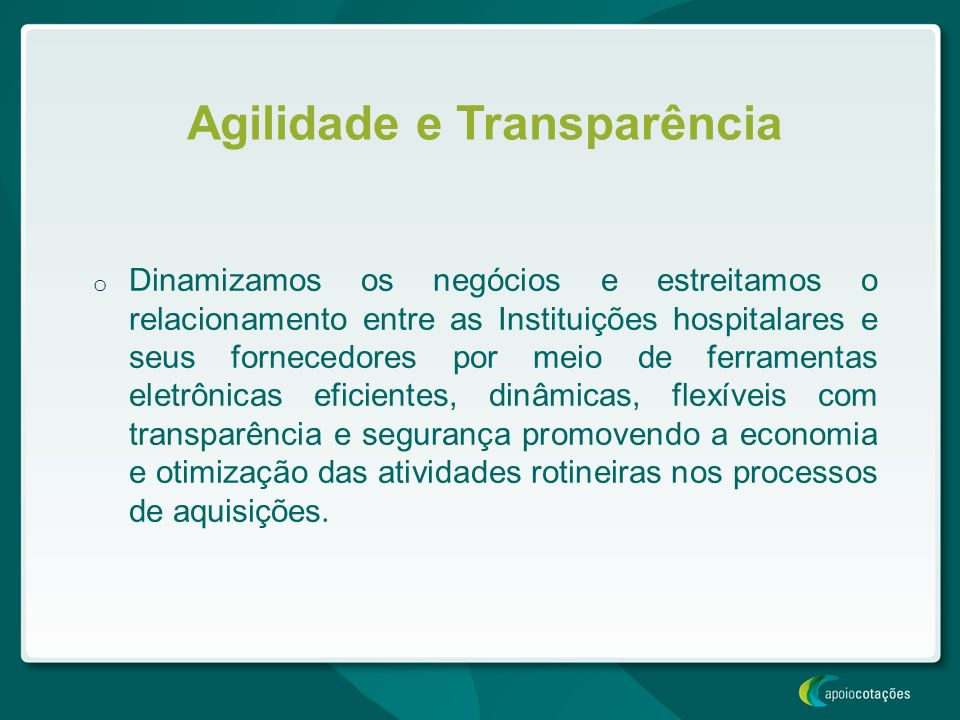 Agilidade e Transparência