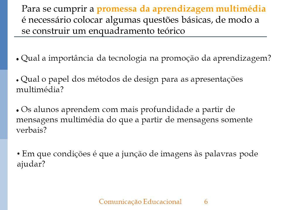 Para se cumprir a promessa da aprendizagem multimédia é necessário colocar algumas questões básicas, de modo a se construir um enquadramento teórico