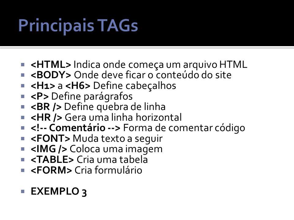 Principais TAGs <HTML> Indica onde começa um arquivo HTML