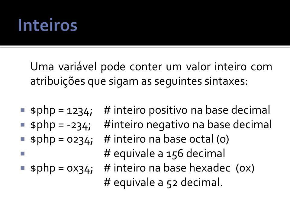 Inteiros Uma variável pode conter um valor inteiro com atribuições que sigam as seguintes sintaxes: