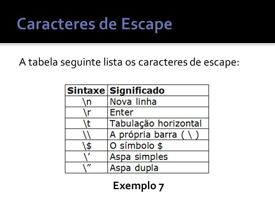 Caracteres de Escape A tabela seguinte lista os caracteres de escape: