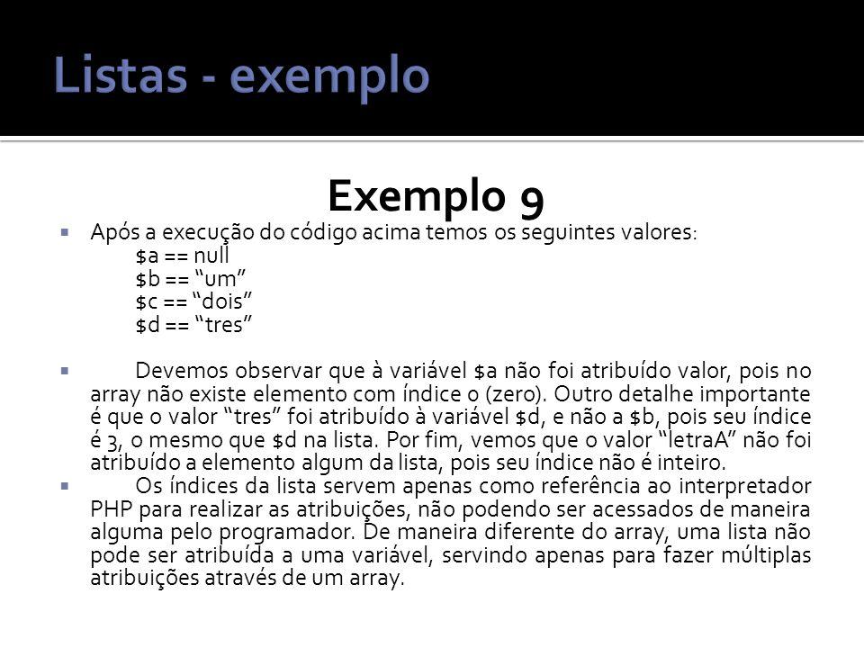 Listas - exemplo Exemplo 9