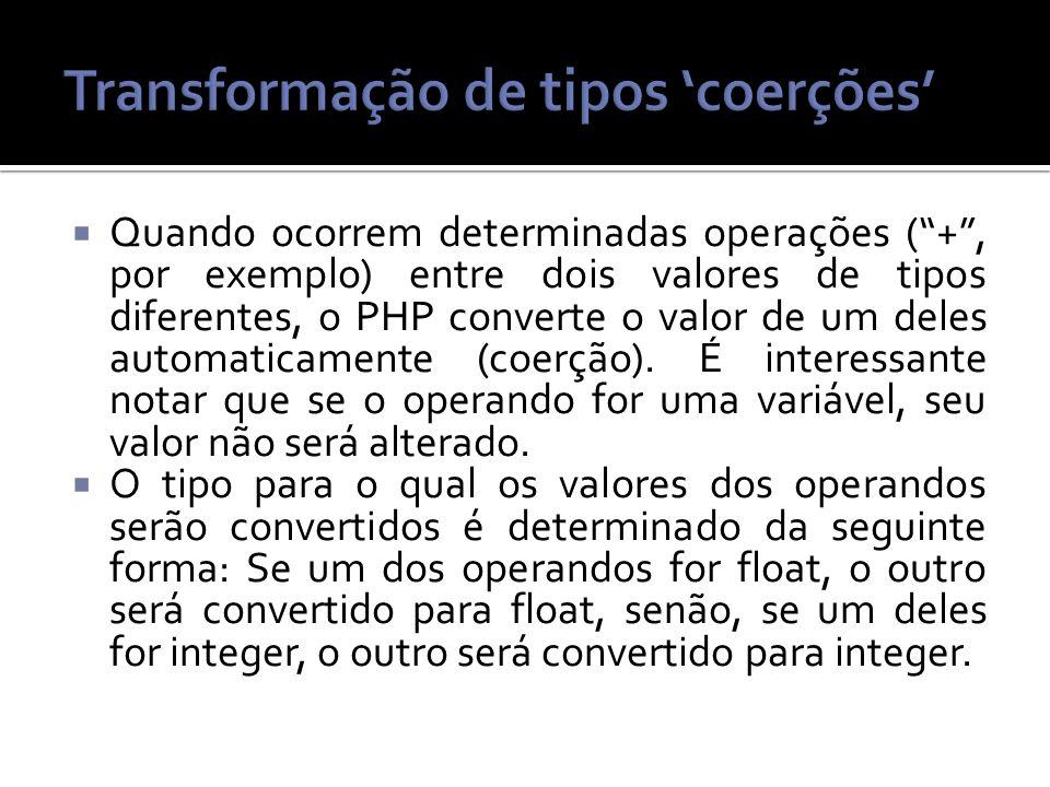 Transformação de tipos 'coerções'