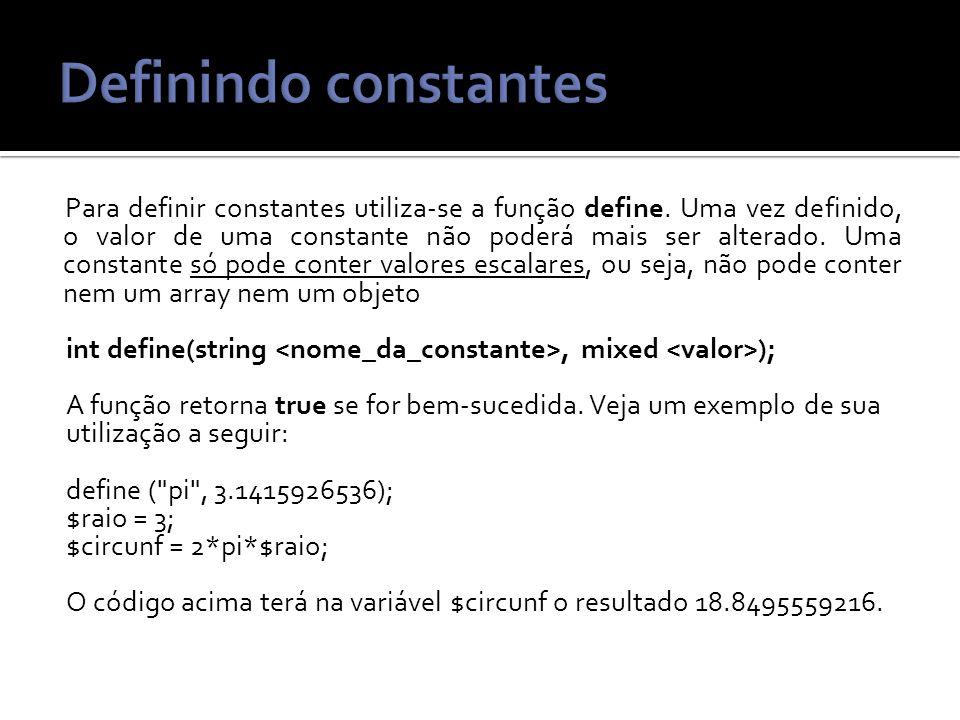 Definindo constantes