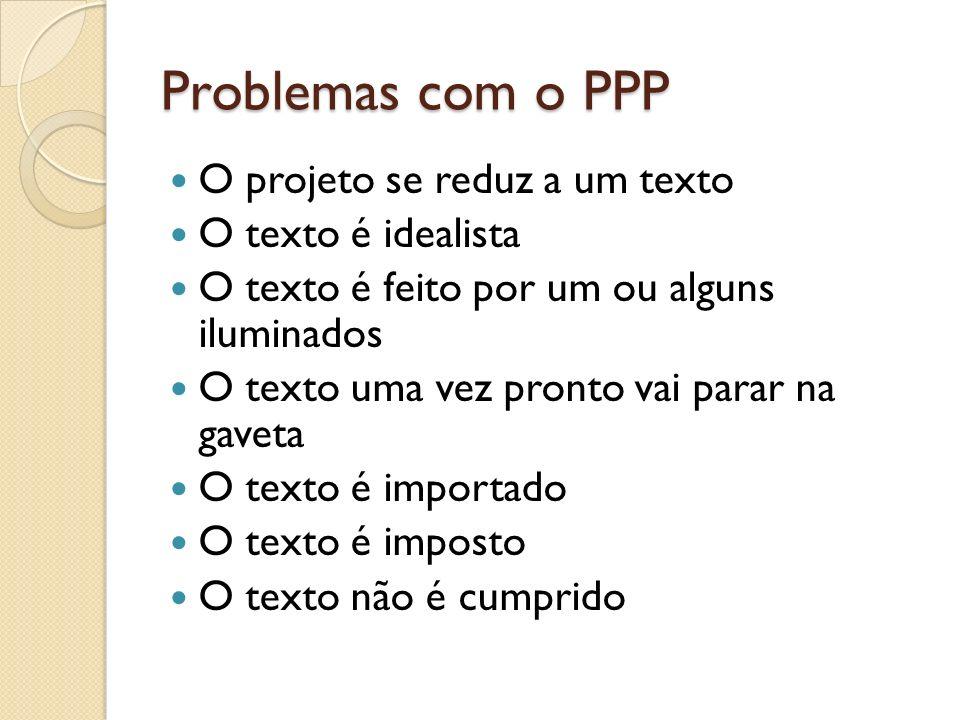 Problemas com o PPP O projeto se reduz a um texto O texto é idealista