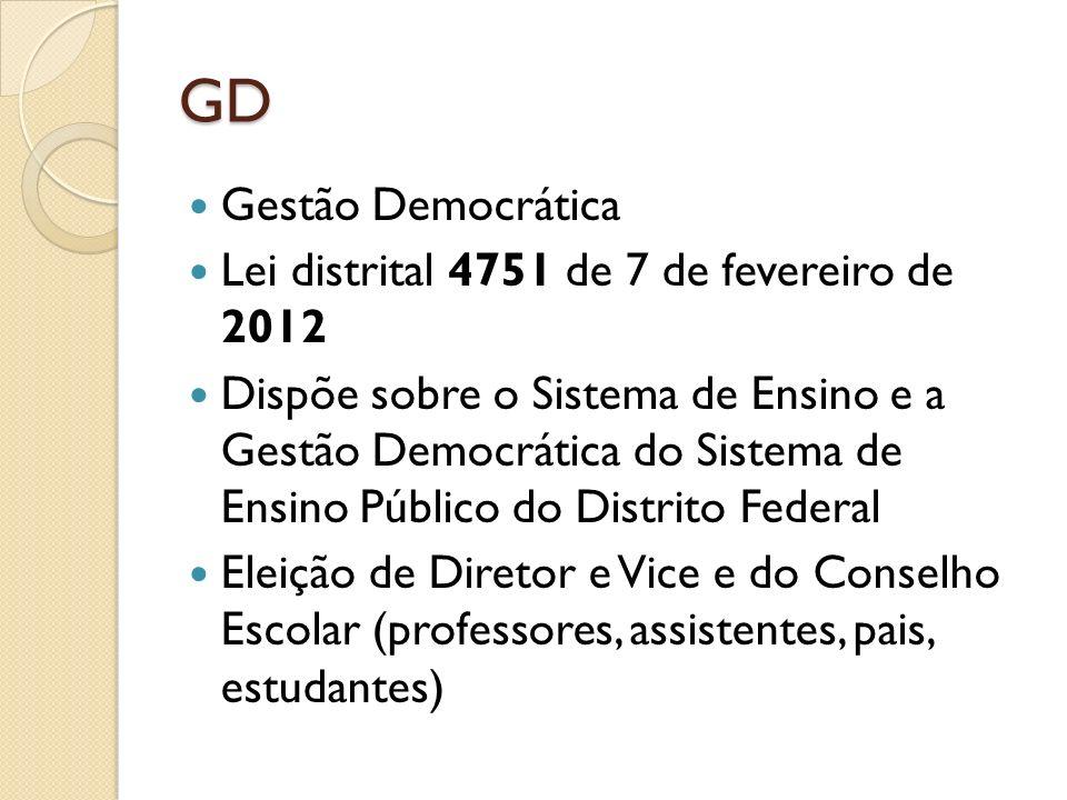 GD Gestão Democrática Lei distrital 4751 de 7 de fevereiro de 2012