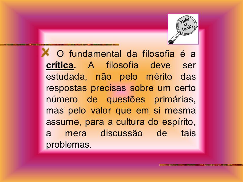 O fundamental da filosofia é a crítica