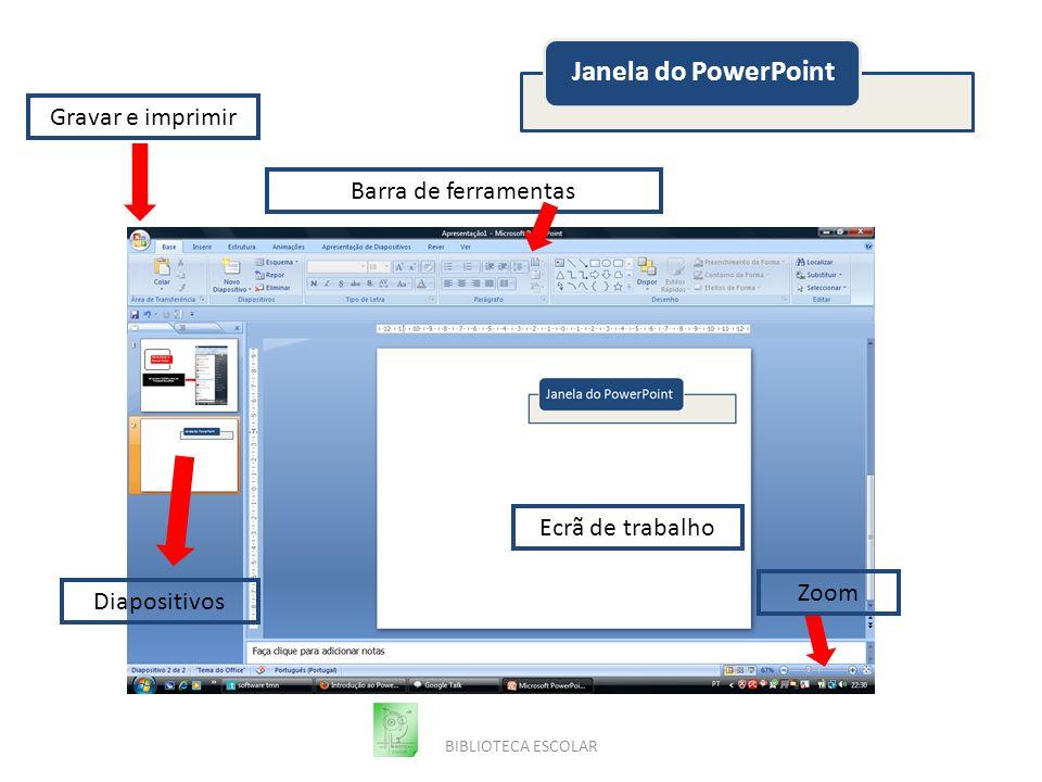 Janela do PowerPoint Gravar e imprimir Barra de ferramentas