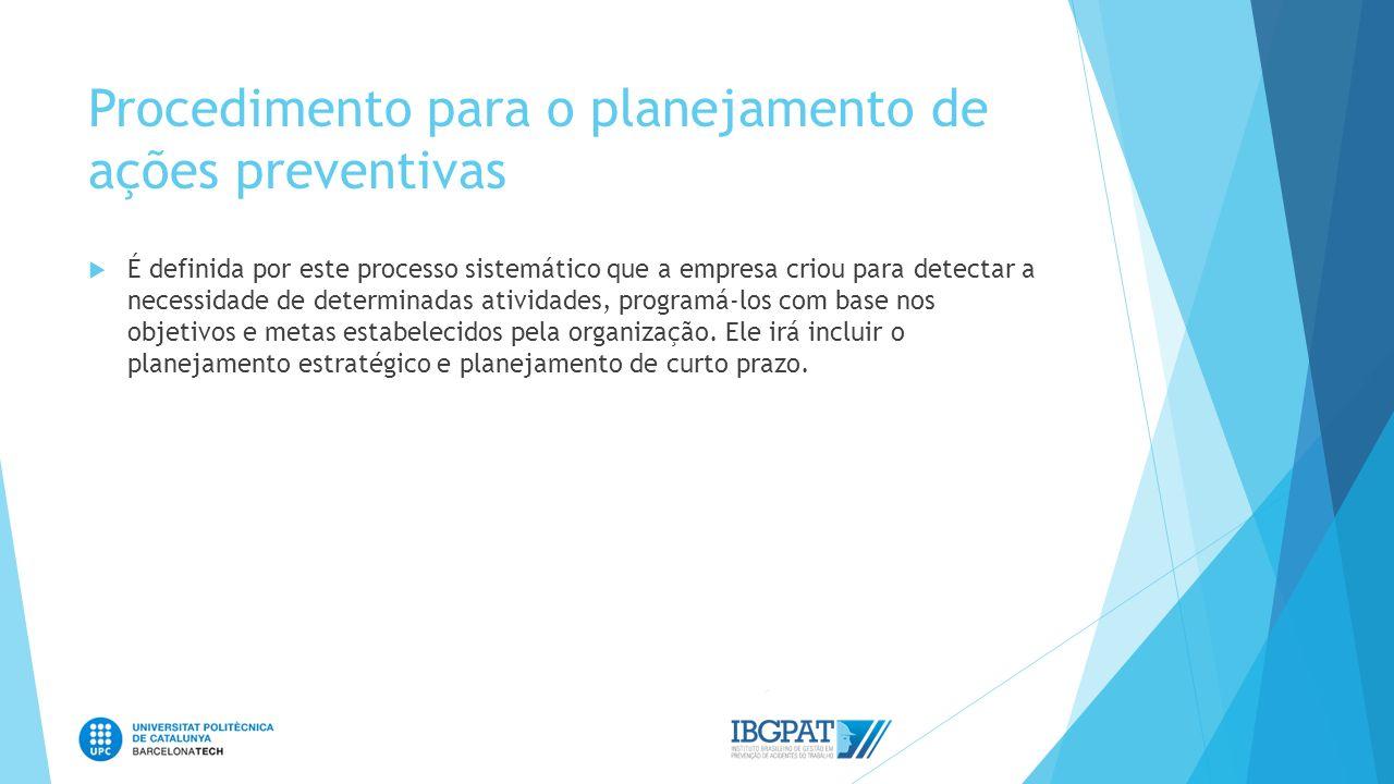 Procedimento para o planejamento de ações preventivas