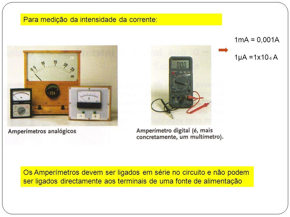Para medição da intensidade da corrente: