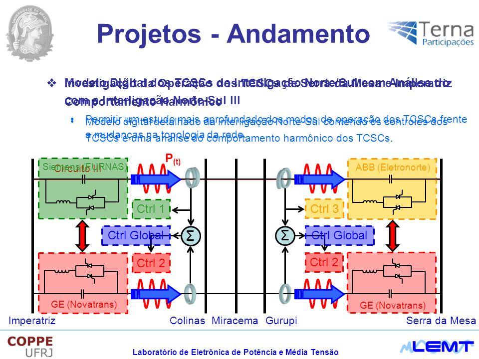 Projetos - Andamento Investigação da Operação dos TCSCs de Serra da Mesa e Imperatriz com a Interligação Norte-Sul III.