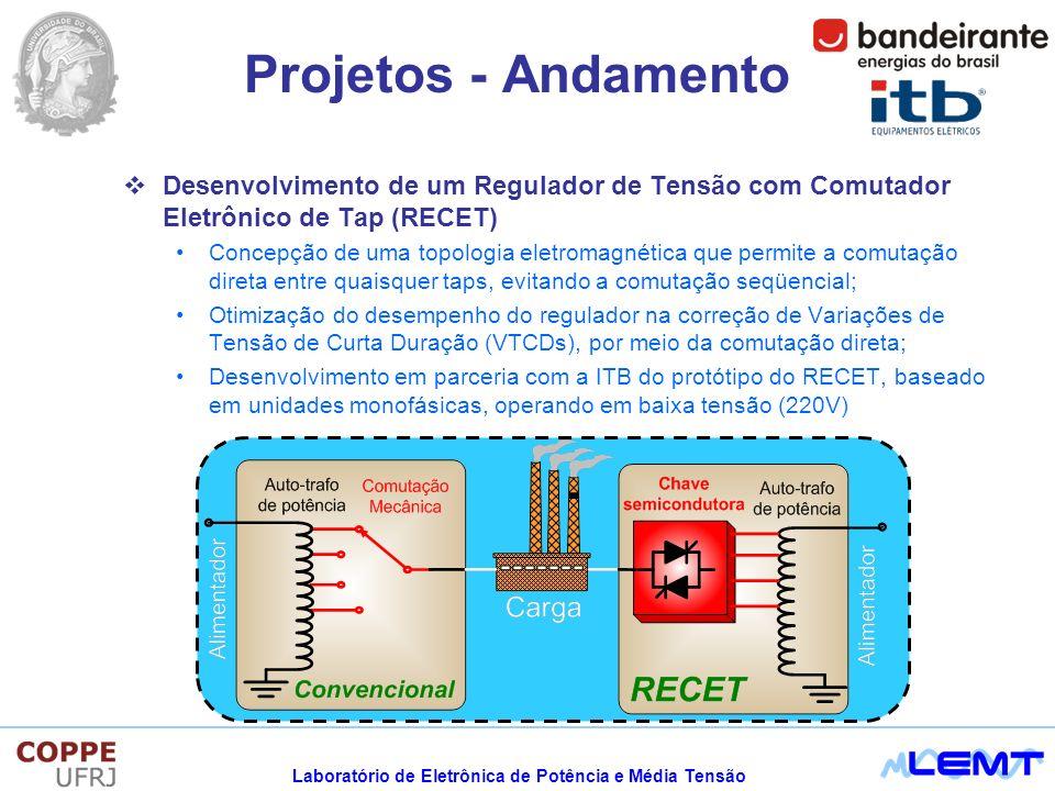 Projetos - Andamento Desenvolvimento de um Regulador de Tensão com Comutador Eletrônico de Tap (RECET)