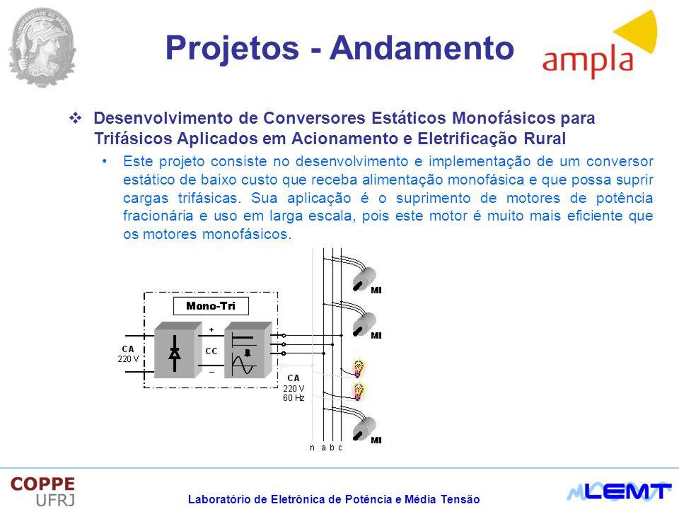 Projetos - Andamento Desenvolvimento de Conversores Estáticos Monofásicos para Trifásicos Aplicados em Acionamento e Eletrificação Rural.