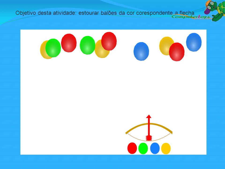 Objetivo desta atividade: estourar balões da cor corespondente a flecha