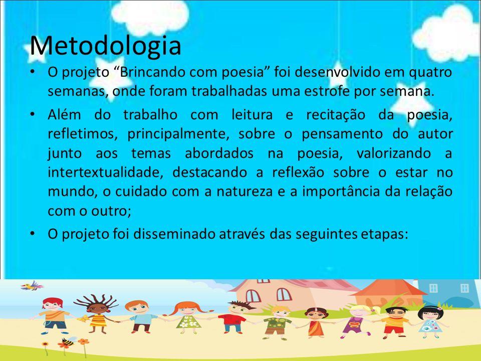 Metodologia O projeto Brincando com poesia foi desenvolvido em quatro semanas, onde foram trabalhadas uma estrofe por semana.