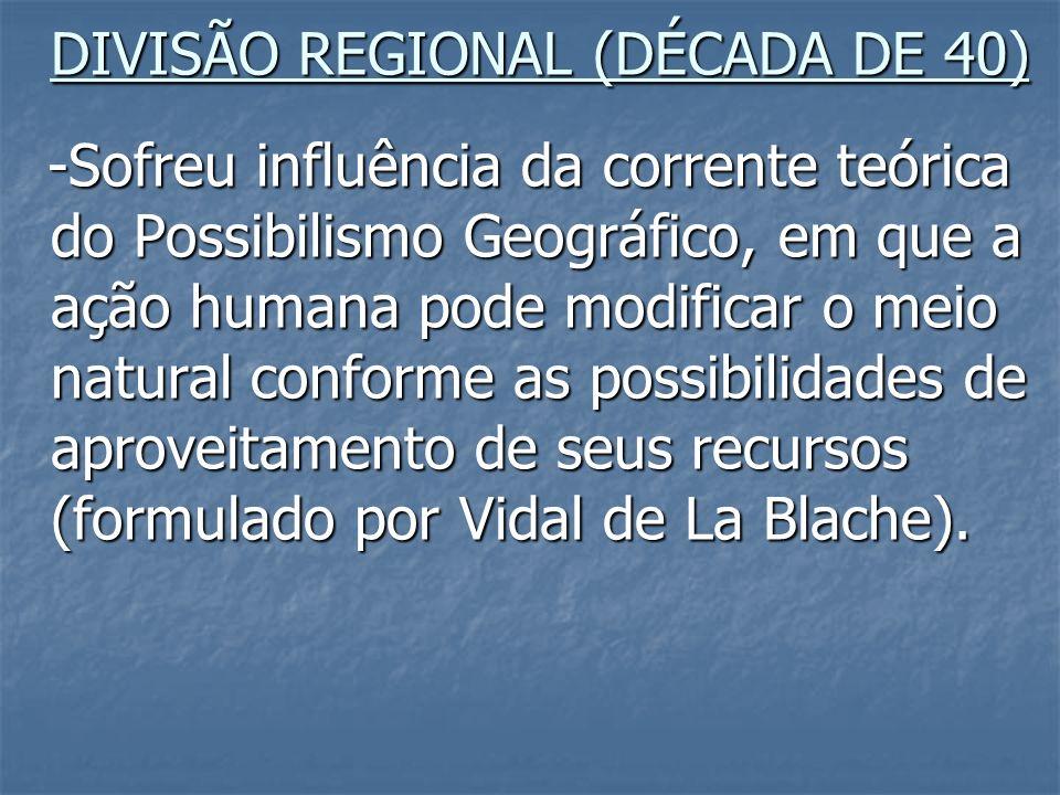 DIVISÃO REGIONAL (DÉCADA DE 40)