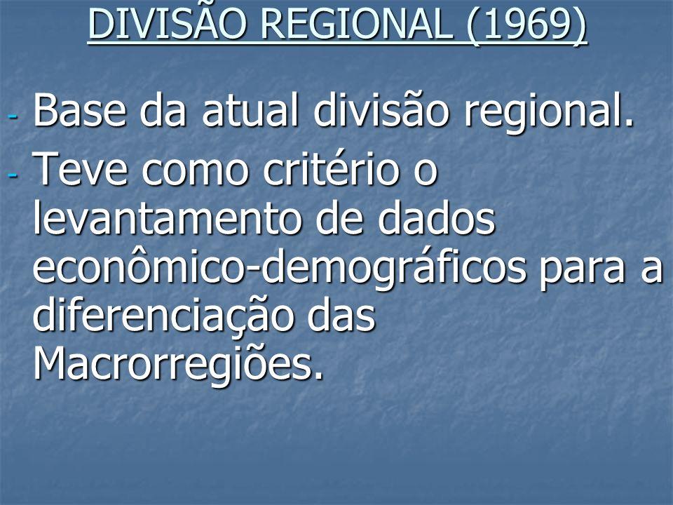 Base da atual divisão regional.