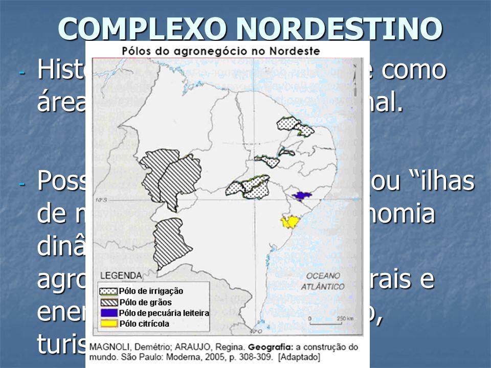 COMPLEXO NORDESTINO Historicamente configura-se como área de repulsão populacional.