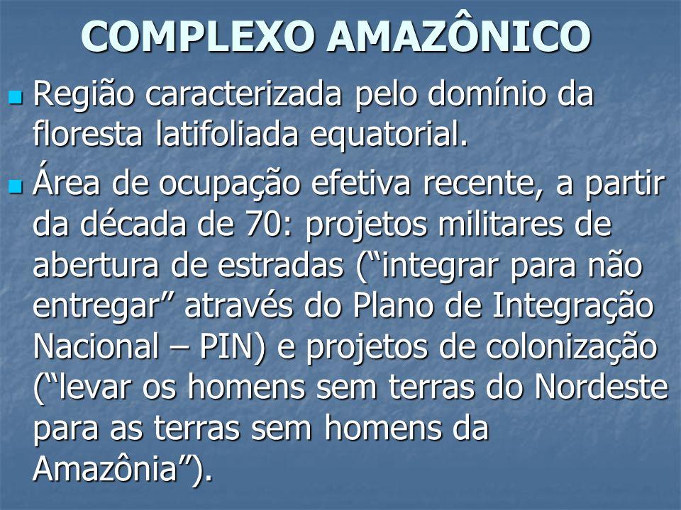 COMPLEXO AMAZÔNICO Região caracterizada pelo domínio da floresta latifoliada equatorial.