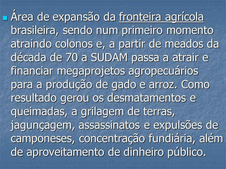 Área de expansão da fronteira agrícola brasileira, sendo num primeiro momento atraindo colonos e, a partir de meados da década de 70 a SUDAM passa a atrair e financiar megaprojetos agropecuários para a produção de gado e arroz.