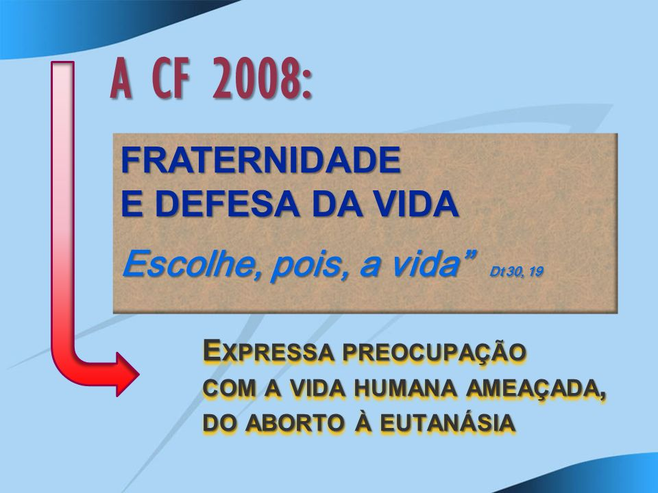 A CF 2008: FRATERNIDADE E DEFESA DA VIDA