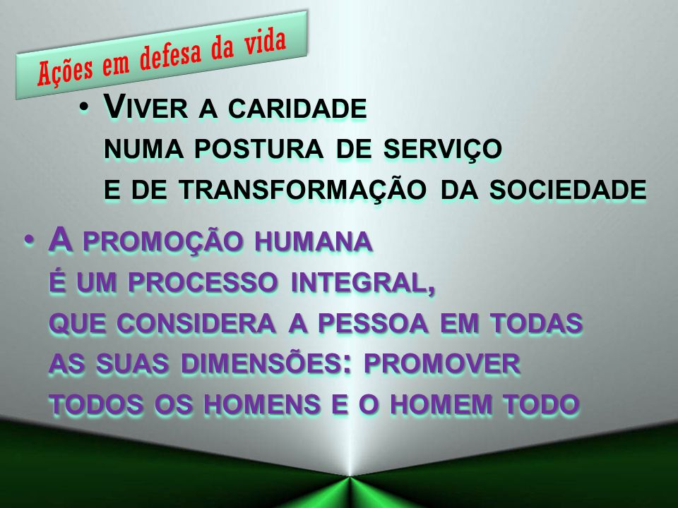Ações em defesa da vida Viver a caridade numa postura de serviço e de transformação da sociedade.