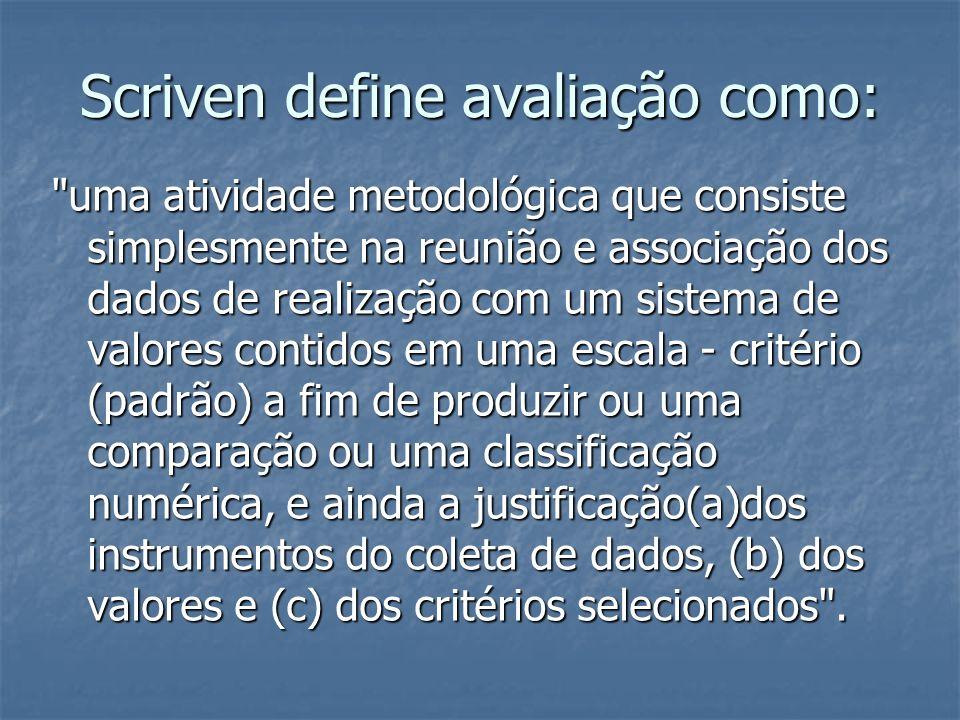 Scriven define avaliação como:
