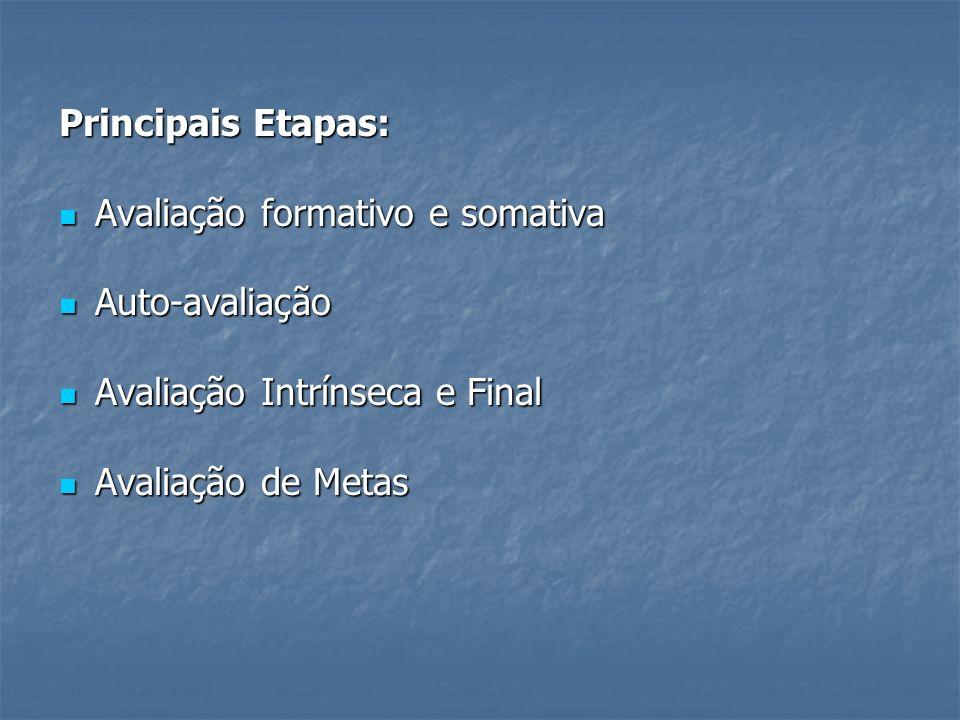 Principais Etapas: Avaliação formativo e somativa.