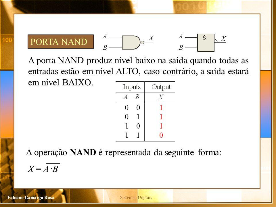 A operação NAND é representada da seguinte forma: X = A .B