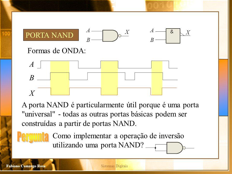 Pergunta PORTA NAND Formas de ONDA: A B X