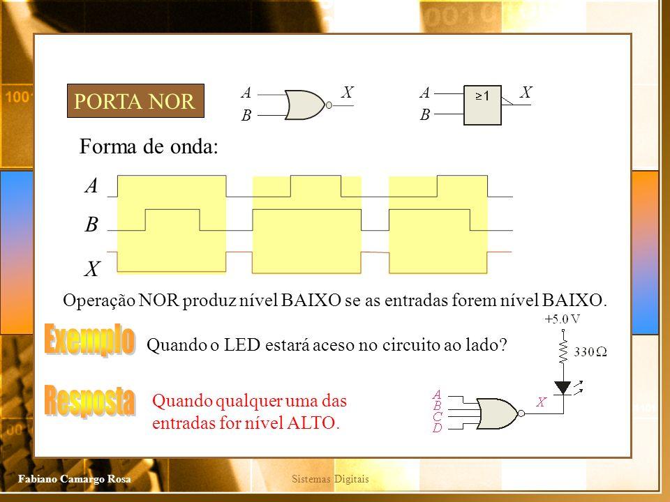 Exemplo Resposta PORTA NOR Forma de onda: A B X