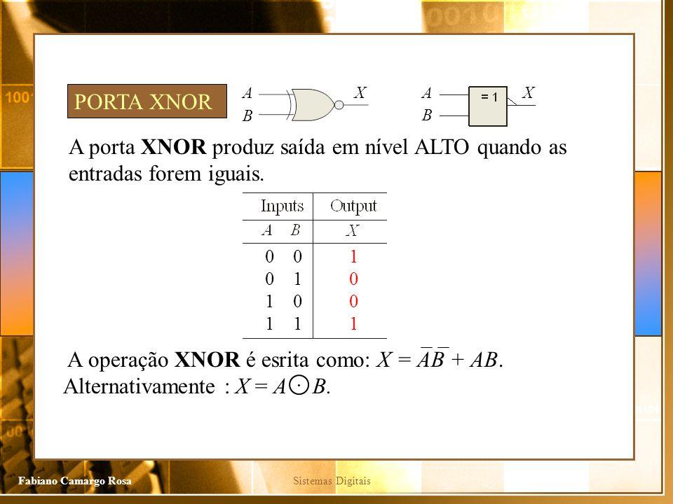 A X. A. X. PORTA XNOR. B. B. A porta XNOR produz saída em nível ALTO quando as entradas forem iguais.
