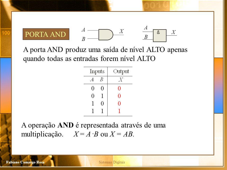 A A. X. PORTA AND. X. B. B. A porta AND produz uma saída de nível ALTO apenas quando todas as entradas forem nível ALTO.