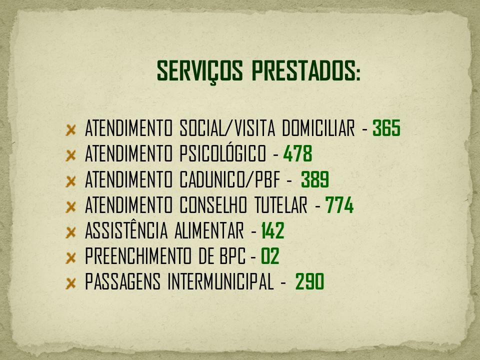 SERVIÇOS PRESTADOS: ATENDIMENTO SOCIAL/VISITA DOMICILIAR - 365