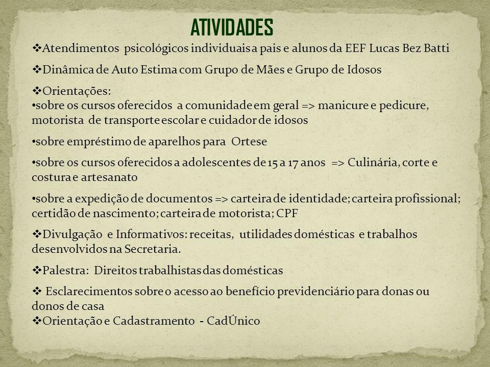 ATIVIDADES Atendimentos psicológicos individuais a pais e alunos da EEF Lucas Bez Batti.