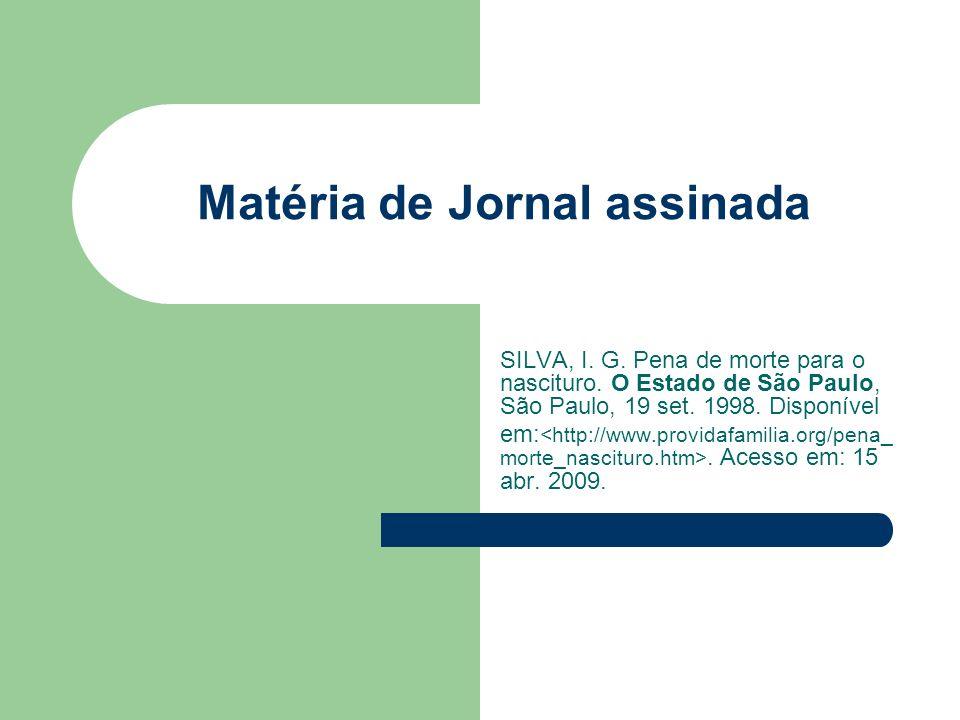 Matéria de Jornal assinada