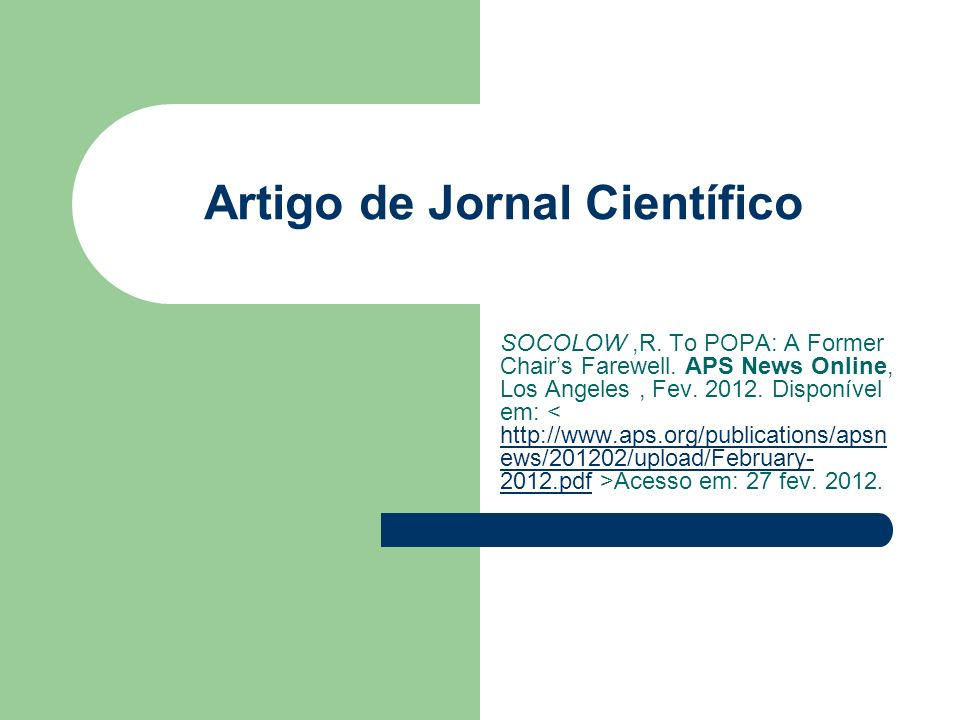Artigo de Jornal Científico