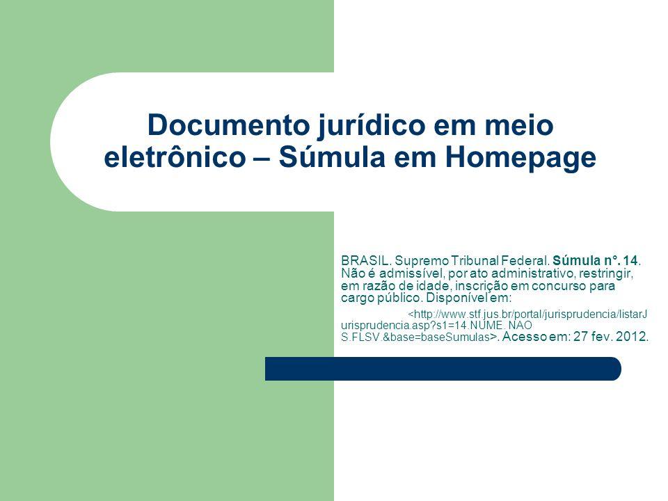 Documento jurídico em meio eletrônico – Súmula em Homepage