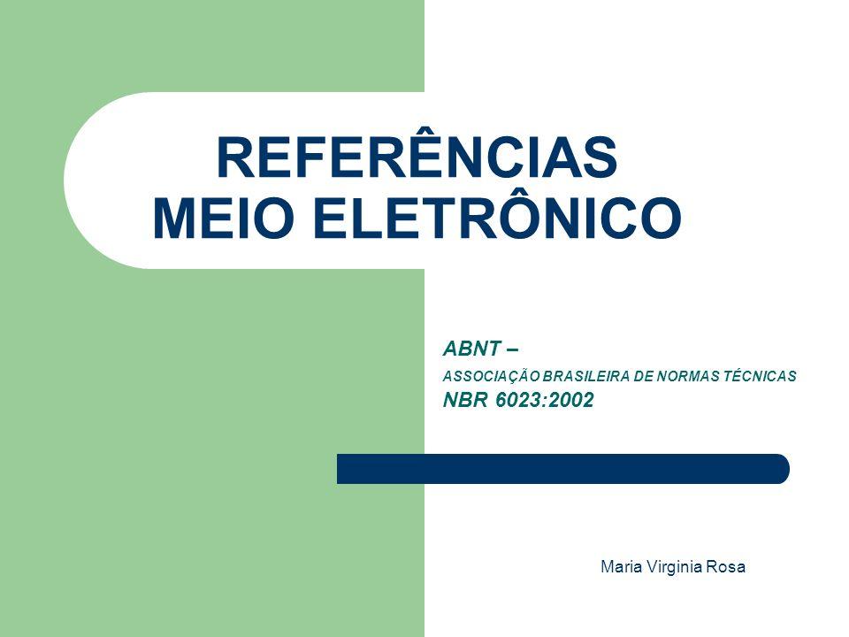 REFERÊNCIAS MEIO ELETRÔNICO