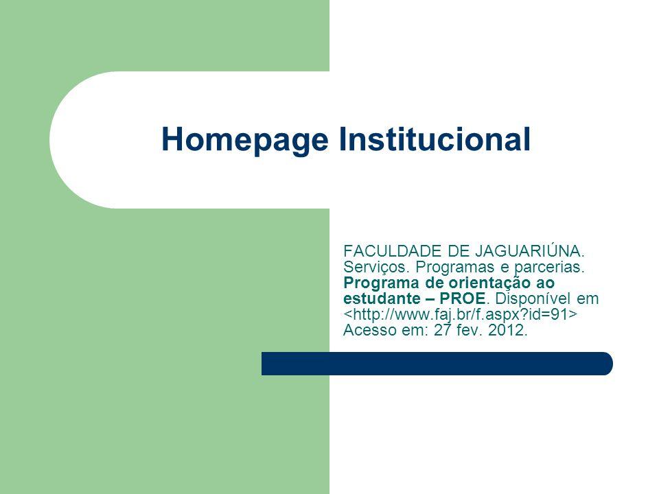 Homepage Institucional