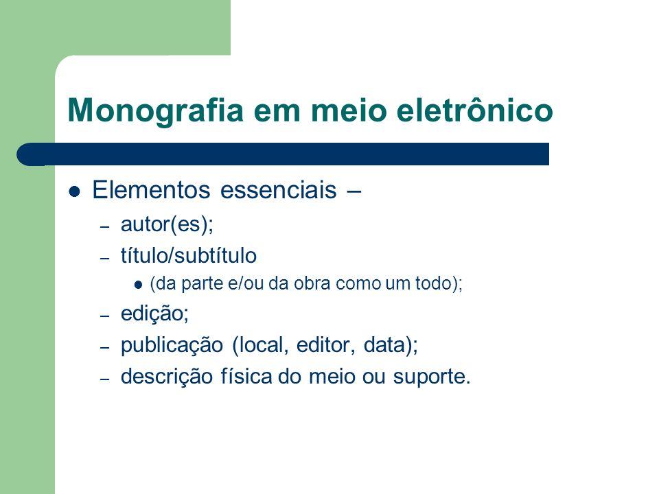 Monografia em meio eletrônico